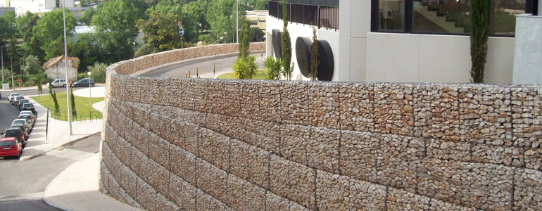 Gabion retaining wall,