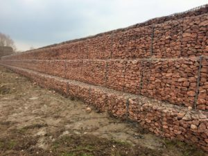 water treatment works at the river mythe is protected using maccaferri gabion wall structure gabion retaining wall is completed and an informative case - Gabion Retaining Wall Design