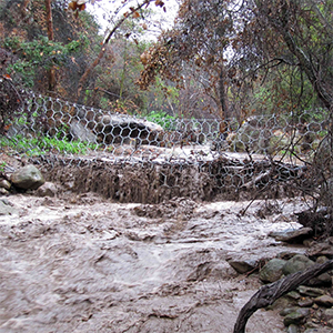 A debris flow barrier at work